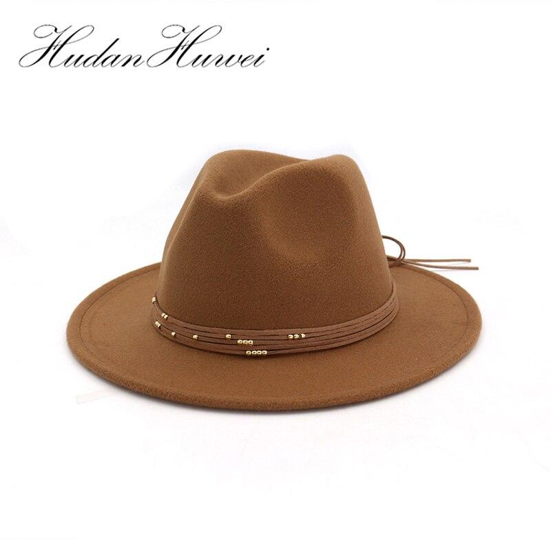 Mode Plat Large Bord en laine feutre Chapeaux chapeaux avec Bande De Ruban jazz trilby formelle chapeau panama chapeau Disquette Chapeau pour hommes femmes