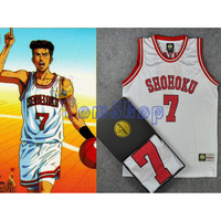SLAM DUNK Cosplay Costume Shohoku 7 Miyagi White Basketball Jersey Athletic Tops Shirt Vest Sportswear Uniform