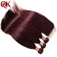 QueenKing волосы бразильские прямые с закрытием кружева 99J цветные волосы Реми ткет бордовый 3 пучки человеческих волос пучки и закрытия