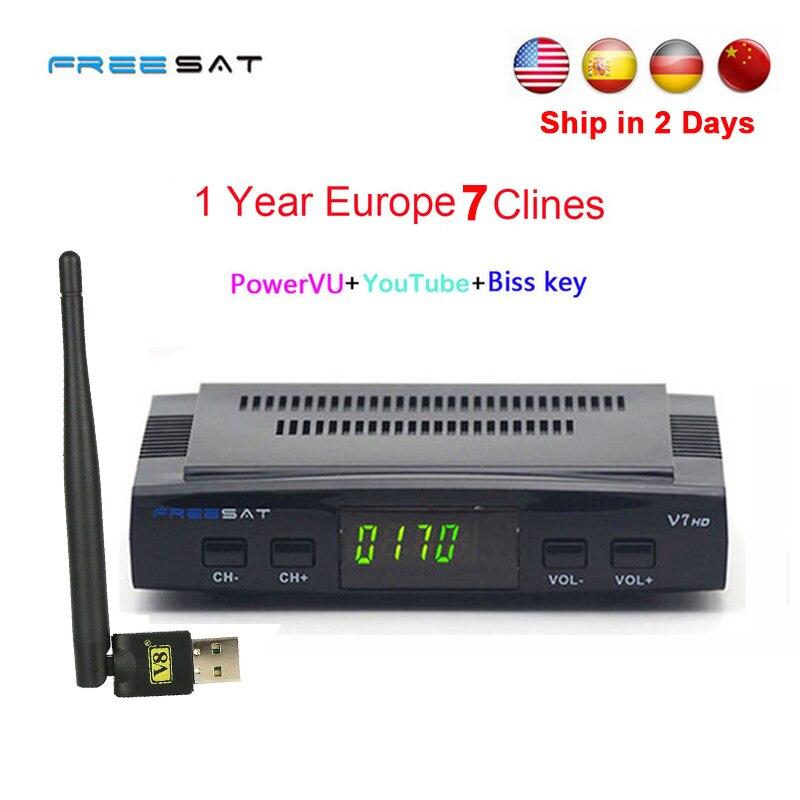 1 Anno Europa clines server DVB-S2 Freesat V7 HD Recettore Decoder satellitare + USB WIFI 1080 p HD youtube Powervu ricevitore satellitare