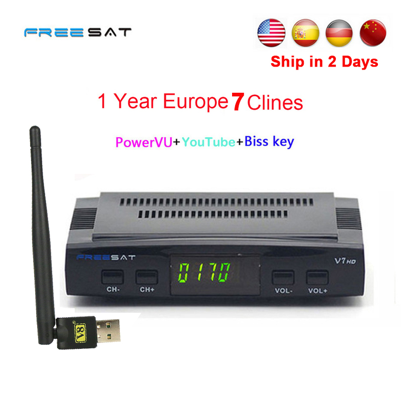 1 Year Europe clines server DVB-S2 Freesat V7 HD Receptor satellite Decoder+USB WIFI 1080p HD youtube Powervu satellite receiver de it es channels dvb s s2 satellite fta lines 1 year cccam clines newcamd usb wifi satellite tv receiver for free shipping