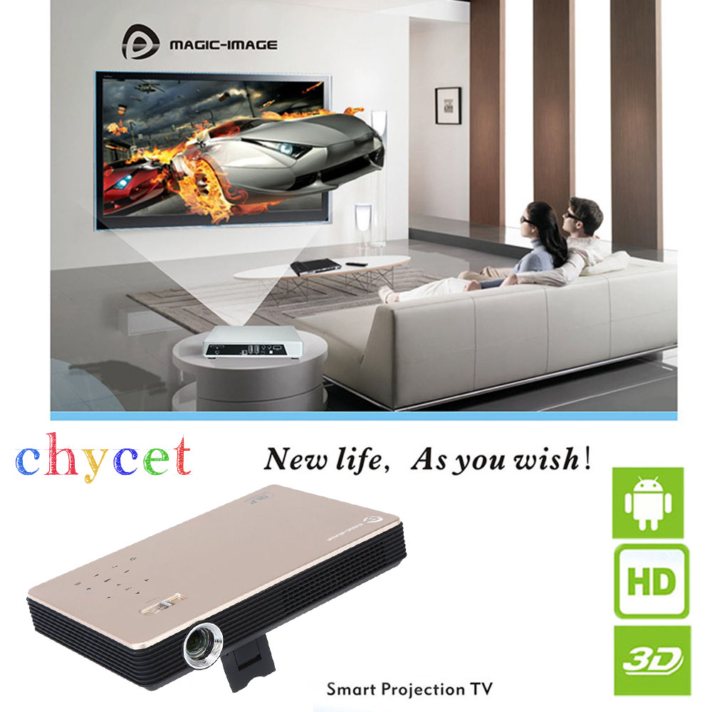 M1 Portable HD 1080P 1000 Lumens DLP Projector Android 4.4.2 Wi-Fi 3D HDMI VGA USB for Business Education Entertainmen PK M6