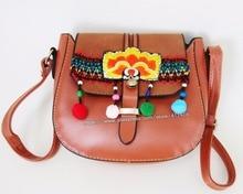 7010450e1054 Free shipping Vintage Hmong Tribal Ethnic Thai Indian Boho shoulder message  Bohem PU handmade embroidery floral
