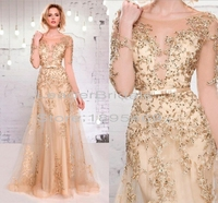 New Mother of the Bride Dresses Gold Tulle Applique Beaded Crystal Sequins Vestidos De Festa Floor-Length Women Formal Gown S203