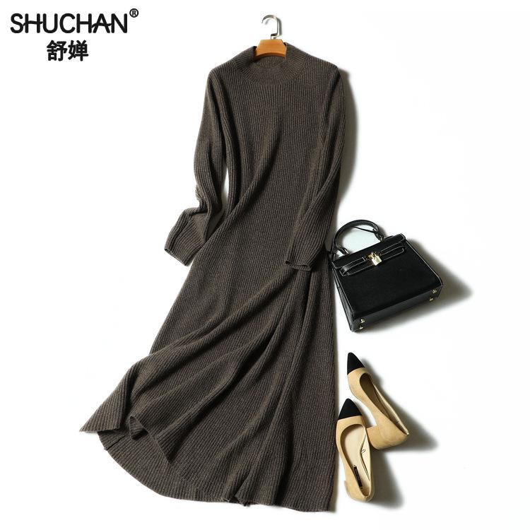 SHUCHAN New Autumn And Winter Sexy Long Dress Soft Feminine With Long Cashmere Sweater Female Cashmere Knitted Pullover 17676