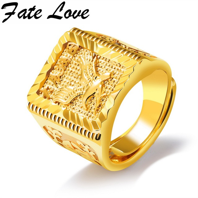 Fate Love New Arrival Eagle Pattern Copper Gold Rings Great Development Moral For Man Ring Fashion Jewelry Adjustable Size FL049