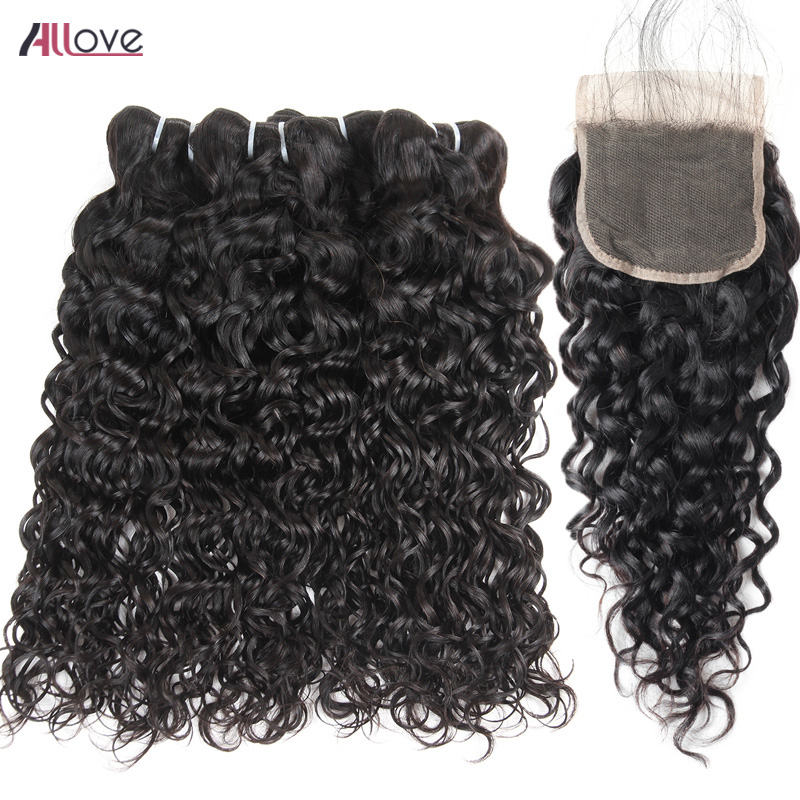 Allove Brazilian Hair Weave Bundles With Closure 4 Bundles Human Hair Water Wave With Closure Free Part Remy Hair Extensions