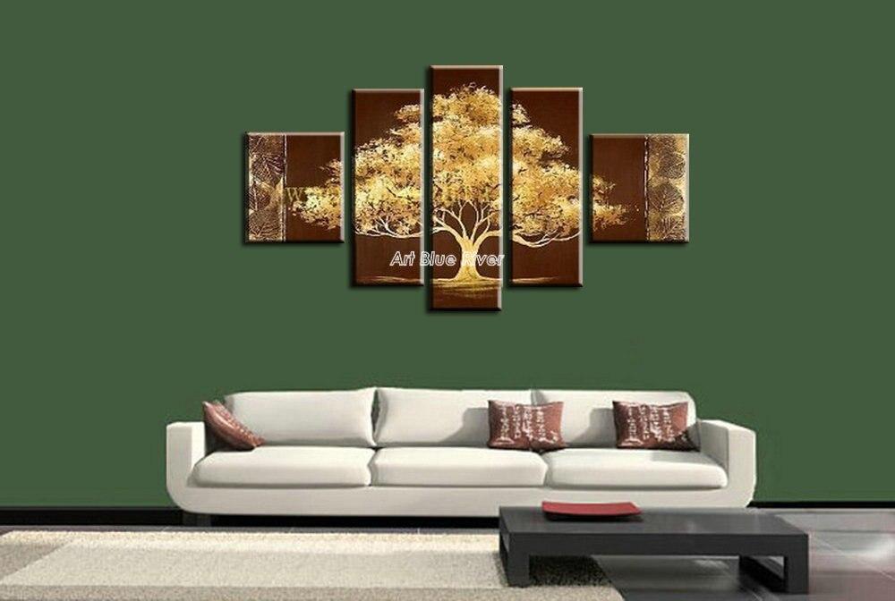 Très 5 pièce mur de toile art sans cadre moderne vie arbre grand main  XM22