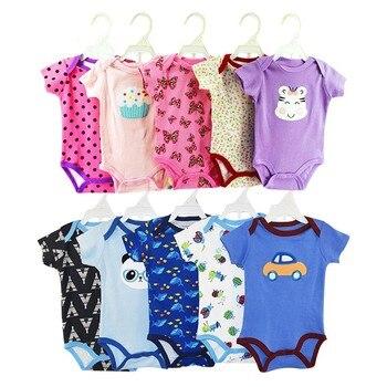 c1bfed0ec 5 piezas paquete recién nacido bebé niña niño mono mameluco trajes ropa de  dibujos animados lindo de manga corta de algodón monos conjunto