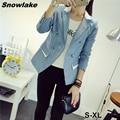 Snowlake Nueva Primavera Marca de Moda de Doble Botonadura de Manga Tres Cuartos Blazers Sólidos ropa de Mujer