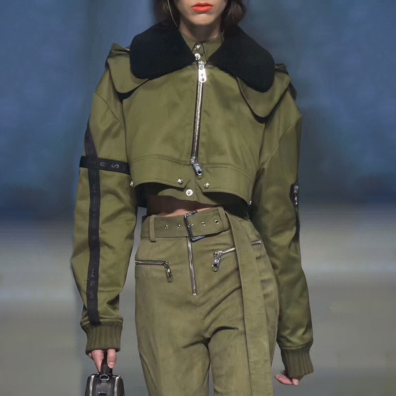 2019 Spring Solid Faux Fur Collar Short Bomber Jacket Women Long Sleeve Crop Tops Hoodies Coat Female Packwork Jackets