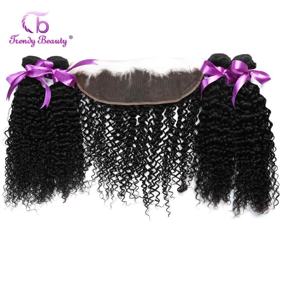 Trendy Beauty Peruvian Kinky Curly 4 Bundles with Lace Frontal Closure 13x4 inch 100% Human Hair Weaves free ship 5 pcs Non-remy