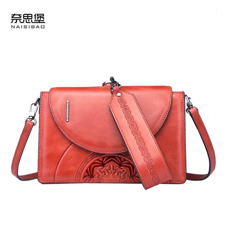 NAiSIBAO 2019 New Cowhide women genuine Leather bag Embossed bag luxury fashion designer women leather shoulder bagNAiSIBAO 2019 New Cowhide women genuine Leather bag Embossed bag luxury fashion designer women leather shoulder bag