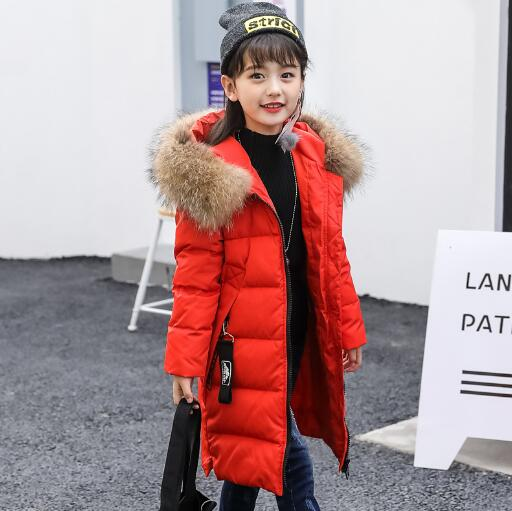 Girls Down Jacket 2018 New Winter Children Thicken Hooded Fur Collar Warm Outerwear Fashion Kids Down Coat Parkas 2015 new hot winter thicken warm woman down jacket coat parkas outerwear rabbit fur collar luxury slim long plus size xl high