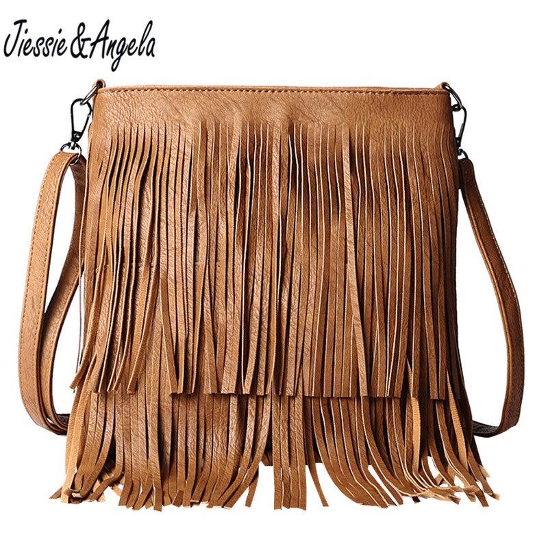 Jiessie & Angela New Female Handbag Flap Shoulder Bag Fashion Hippie Fringe Tassel Small Messenger Bags Vintage Cross body Purse