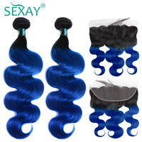 1B/Blue Ombre Bundles With 13x4 Frontal SEXAY Ear To Ear Lace Frontal With Bundles Non Remy 3 Bundles With Frontal Pre Plucked