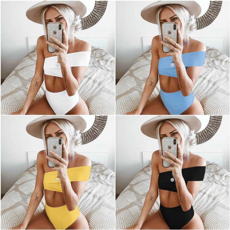 <font><b>Push</b></font> Up Bra <font><b>Bikini</b></font> Set <font><b>2019</b></font> <font><b>Women</b></font> <font><b>Swimwear</b></font> <font><b>Sexy</b></font> Bandage <font><b>High</b></font> <font><b>Waist</b></font> <font><b>Bikinis</b></font> One Shoulder Swimsuit Split Beach Bathing Suit image