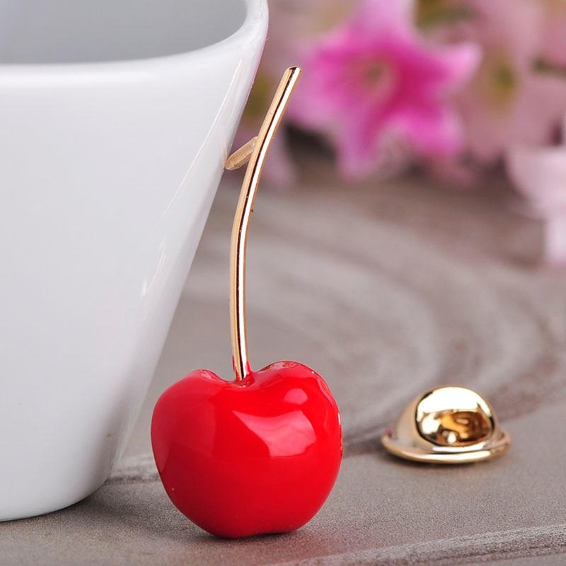 Red Enamel Cherry Metal Brooch Pins Button Crystal Brooch Sweater ClipJewelry XS