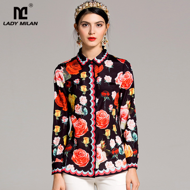 New Arrival 2018 Womens Turn Down Collar Long Sleeves Floral Printed Fashion Designer Shirts