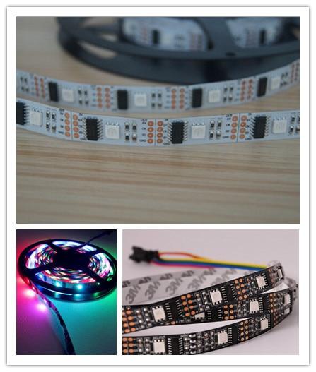 5M / partija 32LEDS 32 IC WS2801 5050 RGB LED sloksne Individuāla adresējama 5V balta PCB NP WS2801 LED elastīga lente bez ūdens