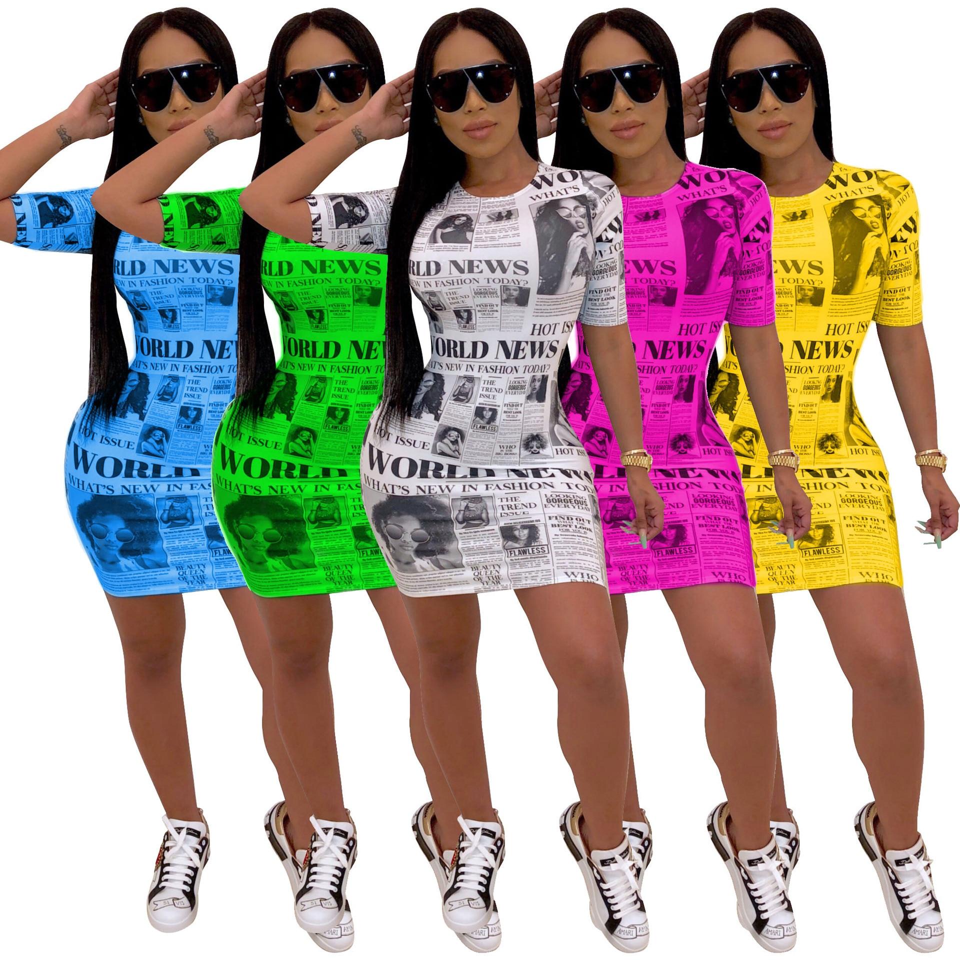 New Summer Fashion Women Dresses Newspaper Printed Short Sleeve Bodycon Mini Dress