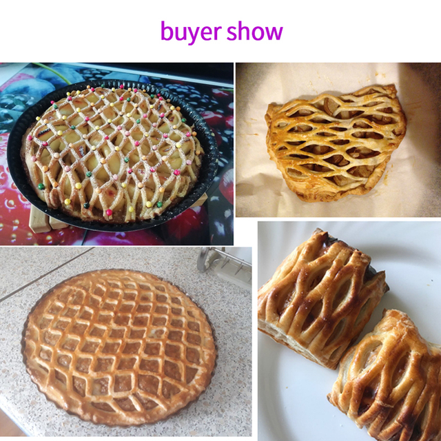 High Quality Pie Pizza Cookie Cutter Pastry Plastic Baking Tools Bakeware Embossing Dough Roller Lattice Cutter Craft Small Size
