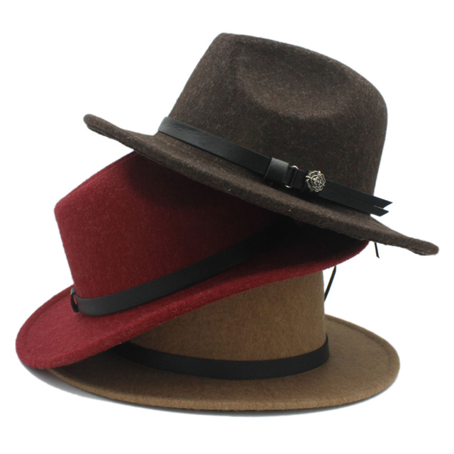 100% Kentucky Derby Chapéus Clássico Cavalheiro dos homens das Mulheres de  Lã Grande aba do b262d06d223
