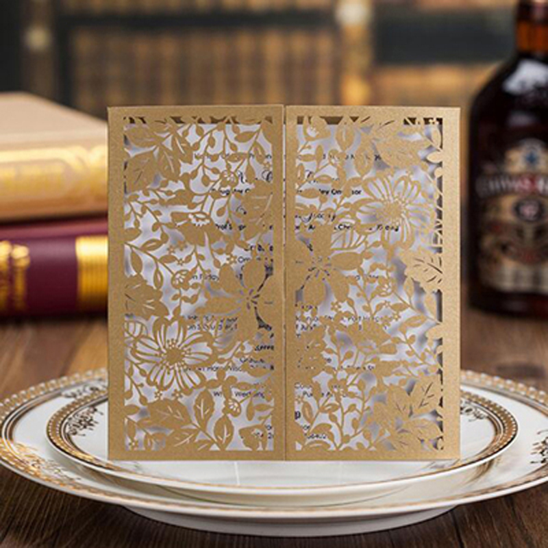 10pcs Square Gold Laser Cut Lace Flower Invitations Cards for Engagement Wedding Birthday Graduation Anniversary Party Supplies 50pcs pack laser cut wedding invitations ivory flowers paper cardstock for engagement wedding birthday graduation anniversary