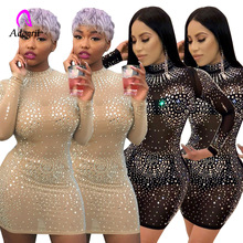 sexy sequined dress see-through mesh drill sheath bodycon dress short dress crystal long sleeve mini nightclub party dress long sleeve mini sheath dress