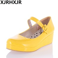 XJRHXJR New Lolita Sweet Lourie Cosplay Single Women Shoes for Lady Wedge Shoes White Beige Yellow Black Large Size 34 43
