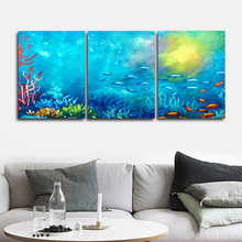 Laeacco Watercolor 3 Panel Underwater World Wall Artwork Sea Fish Posters and Prints Canvas Painting Home Living Room Decor