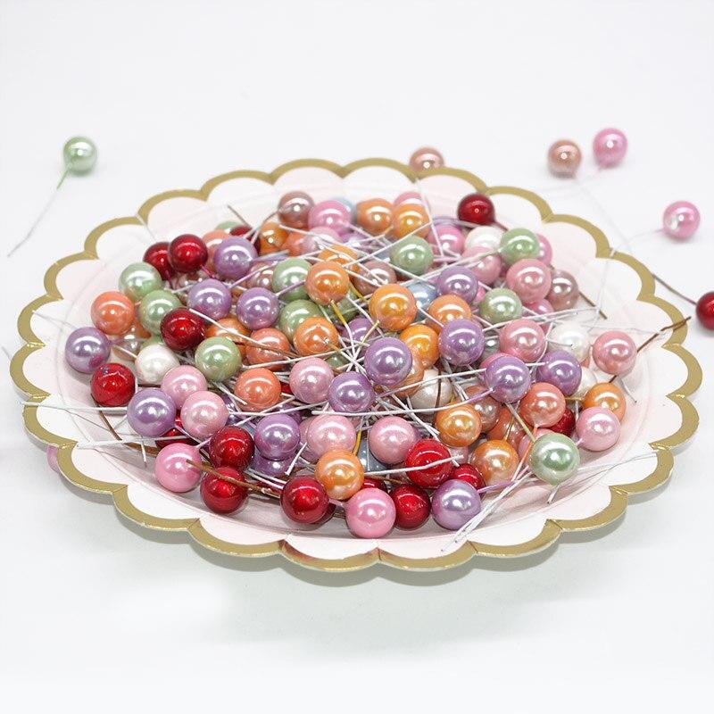 50 шт. мм 12 мм маленький искусственный цветок фрукты тычинки Cherry Рождество пластик жемчуг ягоды тычинки свадебные подарочная коробка декоративные венок