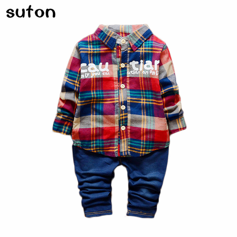 2017 Spring/Autumn Casual Baby Boys Clothing Set Warm Plaid Long-sleeved T-shirt+Jeans 2pc Suit Fashion Children Clothes Sets