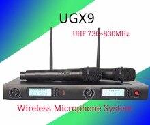 Wireless-mikrofonsystem marke UGX9 Professionelle Mikrofon 2 Kanal UHF Dynamische Professionelle 2 Tasche Mikrofon Karaoke