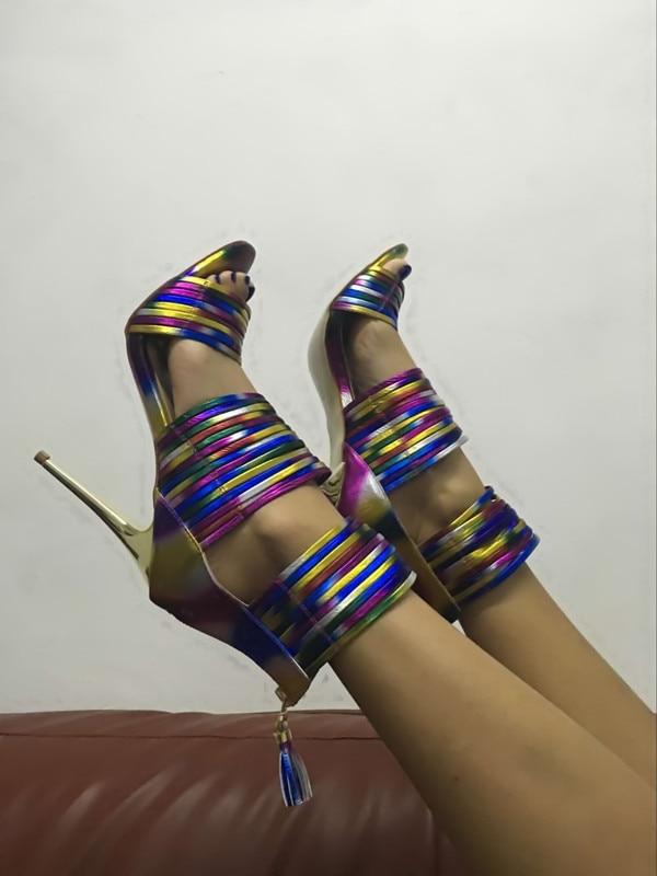 Talons Sandales Unique Stiletto Chic Zip cuir Bout Bande Retour Ouvert Coloré Femmes en Chaussures laissez Arc Fringe Robe Haut À r7S6pSq