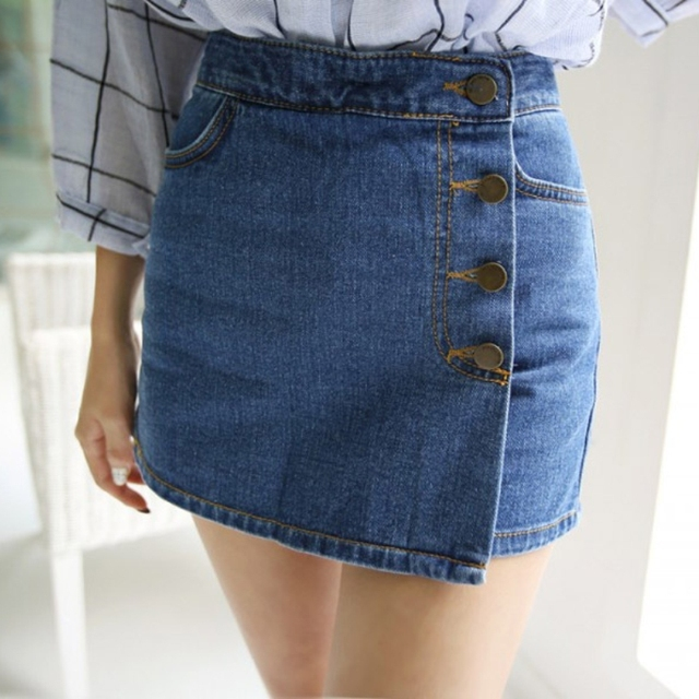 Female Jeans Shorts High Waist Shorts Summer Style New Product Sexy Package Hip Denim Shorts Skirts Asymmetric Shorts Europe