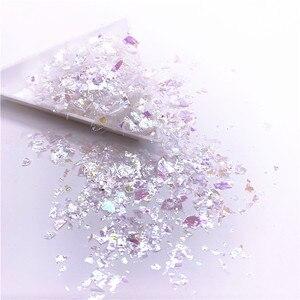 Image 3 - Lentejuelas de papel de concha Irregular para uñas, lentejuelas coloridas para decoración 3D para uñas, 20g por paquete