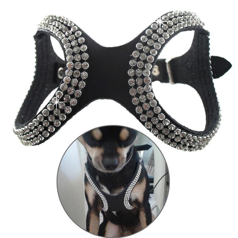 Pet Bling Rhinestone PU Cuero Collar Del Animal Doméstico Del Arnés Del Perro de