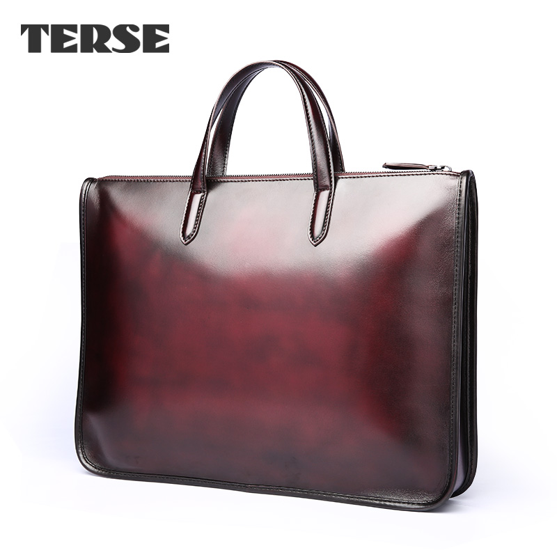 TERSE 2016 Italian Leather Men's Briefcase Leather Business Briefcase Laptop Bag Zipper Bags High Quality Handbag OEM Service