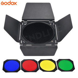 Image 4 - Godox BD 04 Barn Door+Honeycomb Grid + 4 Color Filter For Bowen Mount Standard Reflector Photography Studio Flash Accessories
