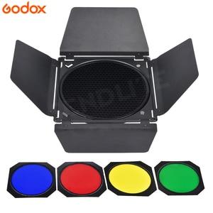 Image 4 - Godox BD 04 drzwi do stodoły + siatka o strukturze plastra miodu + 4 filtr kolorów do mocowaniem typu Bowen standardowy reflektor fotografia błyskanie studyjne akcesoria