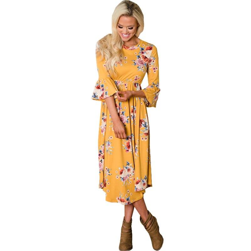Summer Pagoda Sleeve Dress For Pregnant Women Clothes Print Floral Maternity Dress Vestidos Gravidas Pregnancy Dresses Clothing