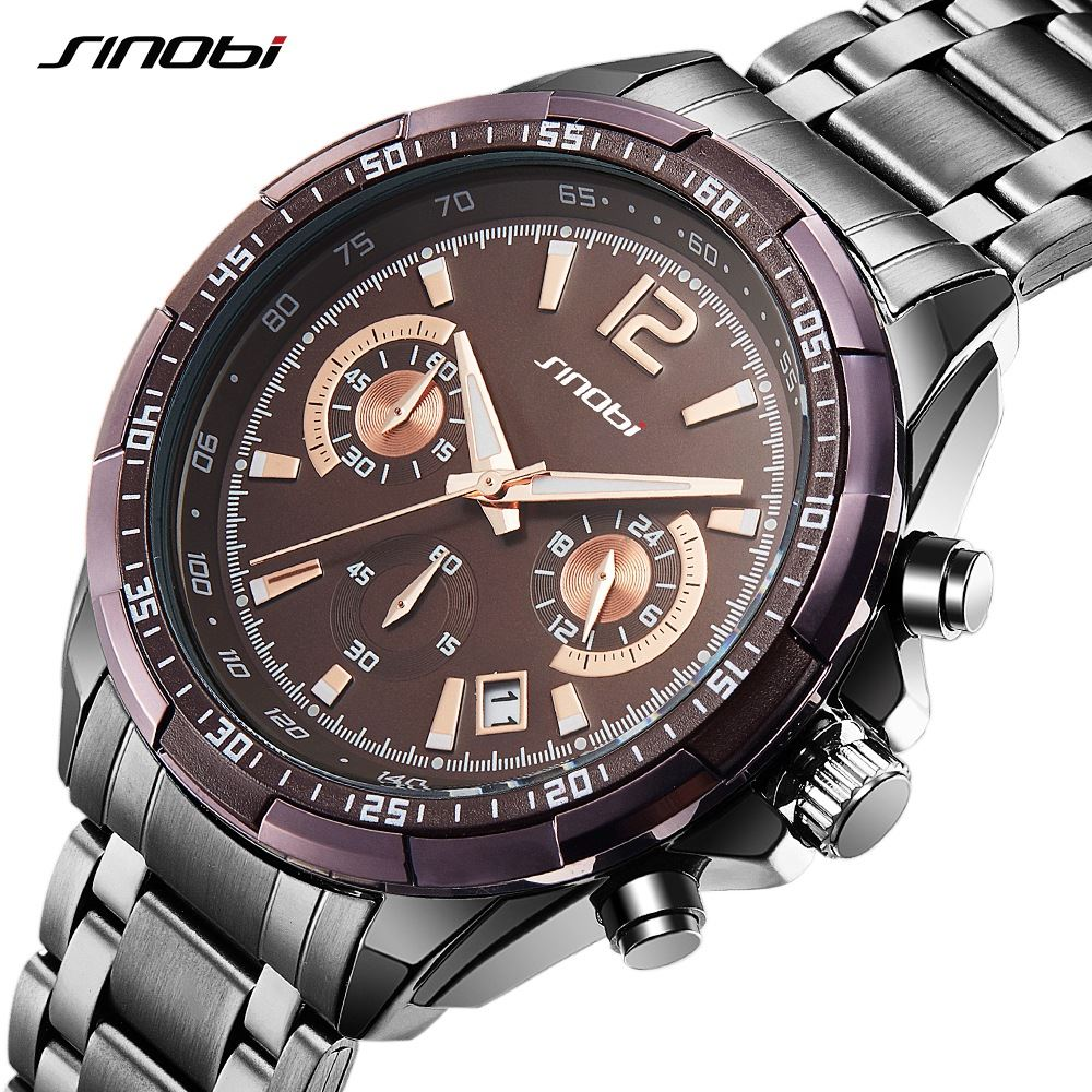 SINOBI Men Sport Brown Steel Quartz Watch Luxury Brand S Shock WatchesMan Waterproof Clock Men's Military Watches relogios