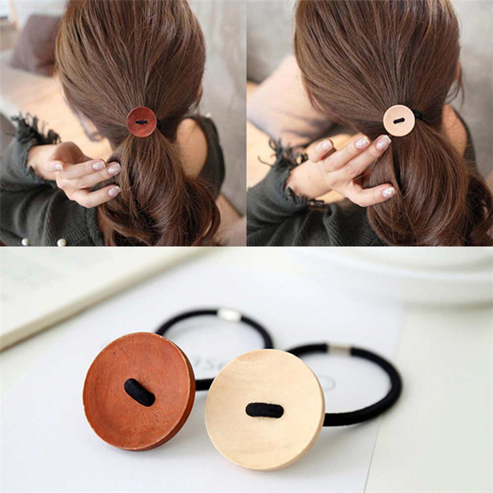 New Women Wooden Button Hairband Vintage Scrunchies Hair Accessories Girl Elastic Hair Rope Tie Ponytail Holder Headband