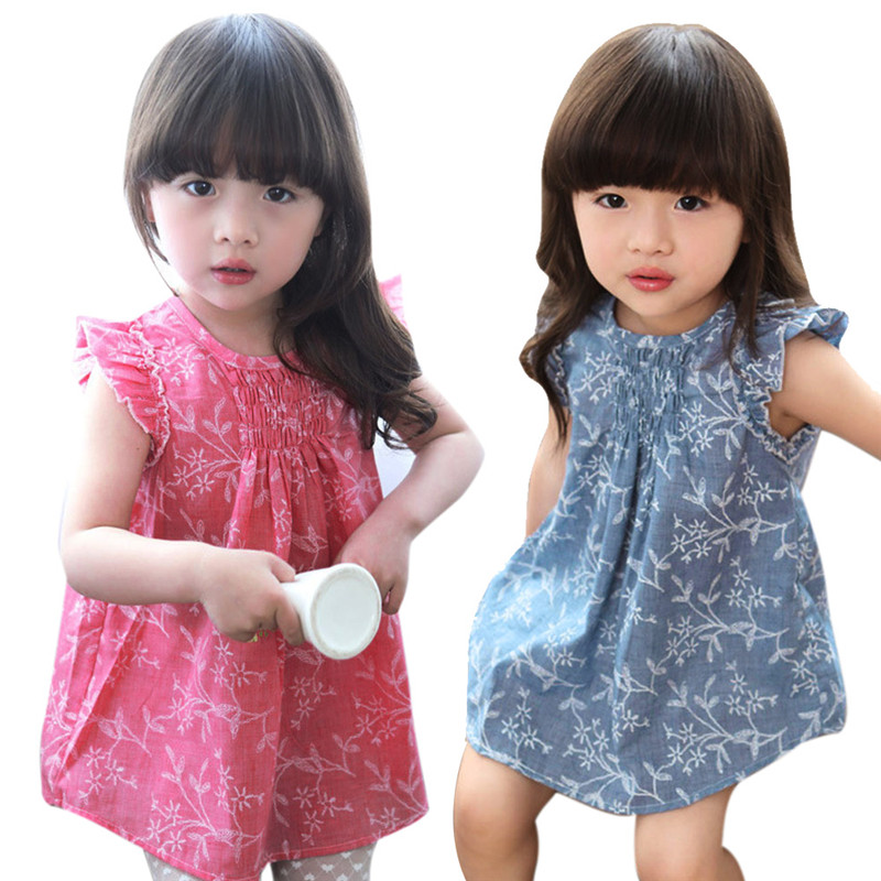 Beautiful Girls Summer Dress Cool Kids Baby Girl Floral Sleeveless Princess Dresses Vest Shirt Clothes Cotton Blended Costumes
