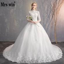 Wedding Dress 2019 New The Elegant Three Quarter Sleeve High Neck Chapel Train Ball Gown Princess Luxury Lace Wedding Gown F(China)