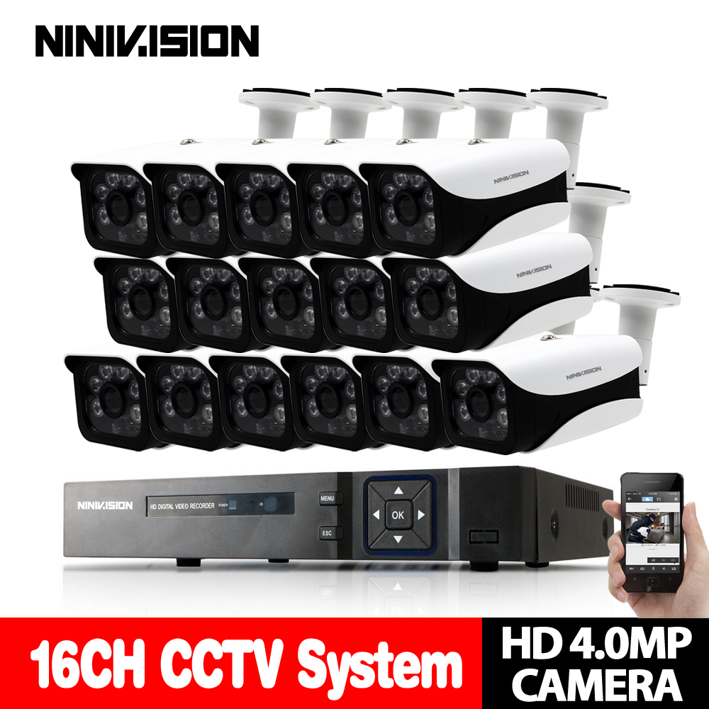 New Super Full HD 16CH AHD 4MP Accueil Extérieure CCTV Caméra Système 16 Canal vidéo Surveillance caméra de sécurité kit 16ch 4MP AHD DVR
