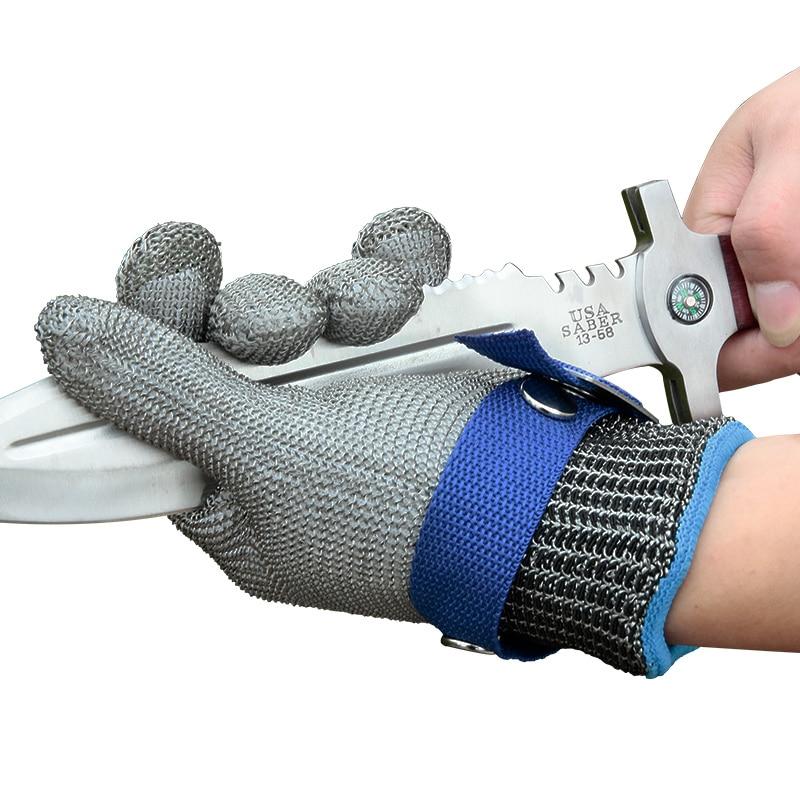 Gant de protection Anti-coupure en acier inoxydable 100% ANSI Anti-coupure gants de boucher en maille métallique résistant aux coupures