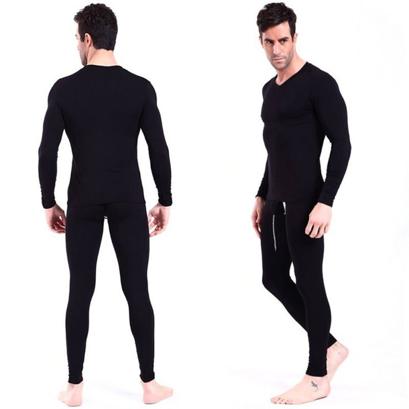 2 Pcs Set Men Spandex Thermal Underwear Pajama Suit Autumn Winter Warm Long Johns Tops B ...