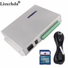 T 300K t300k sd 카드 온라인 pc rgb 풀 컬러 led 픽셀 모듈 컨트롤러 8 포트 8192 픽셀 ws2811 ws2801 ws2812b led 스트립